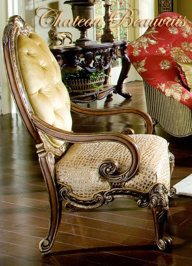 AICO Chateau Beauvais Leather/Fabric Wood Chair