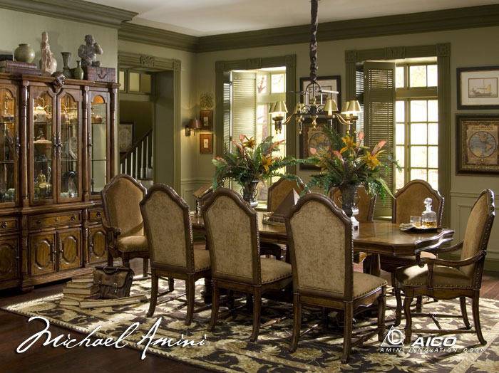 old world traditional tuscan dining room furniture on