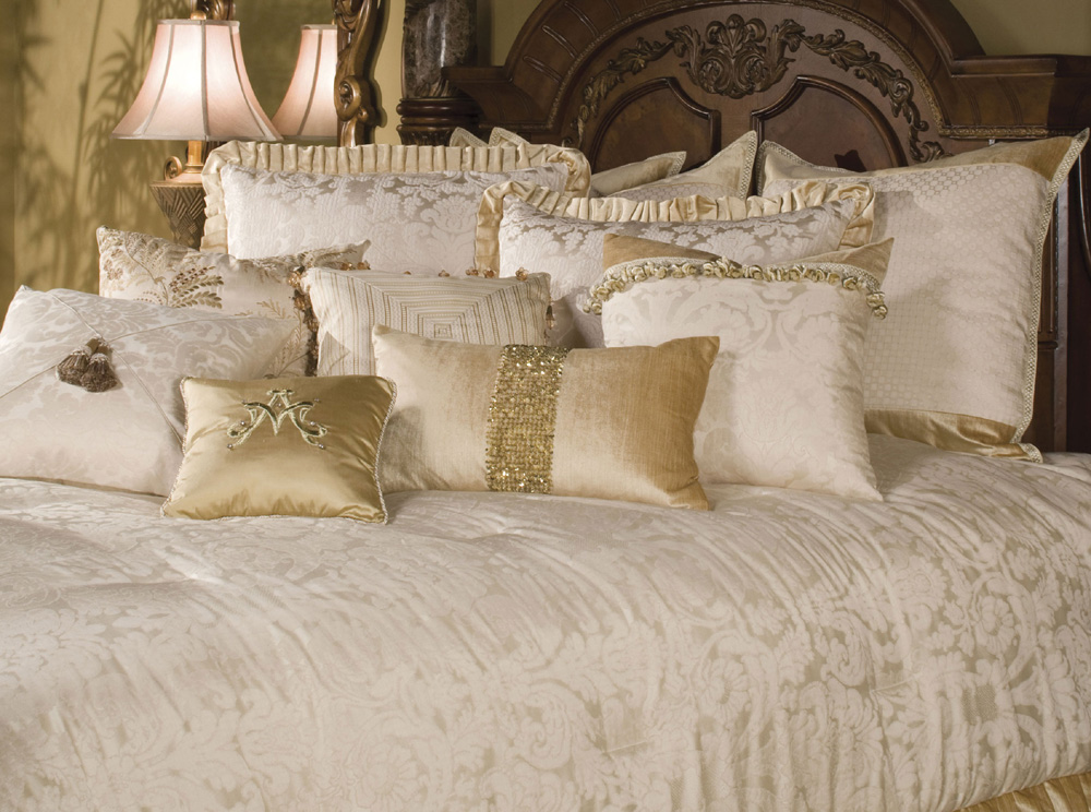 This Luxury Collection Comes In 12 Or 13 Piece Queen Or King Size. Queen Set  BCS QS12 WESTWD CRM: U20221 Comforter, 2 Euro Shams, 2 Standard Pillow Shams,  ...